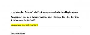 """Titelbild vom """"Hygieneplan Corona"""" für die Steinwald-Schule."""